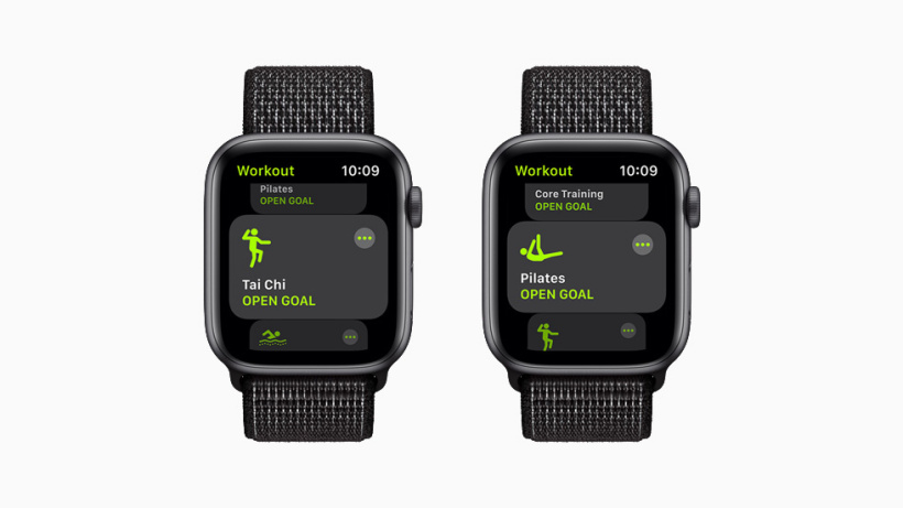 The Tai Chi and Pilates workouts, each displayed on Apple Watch Series 6.