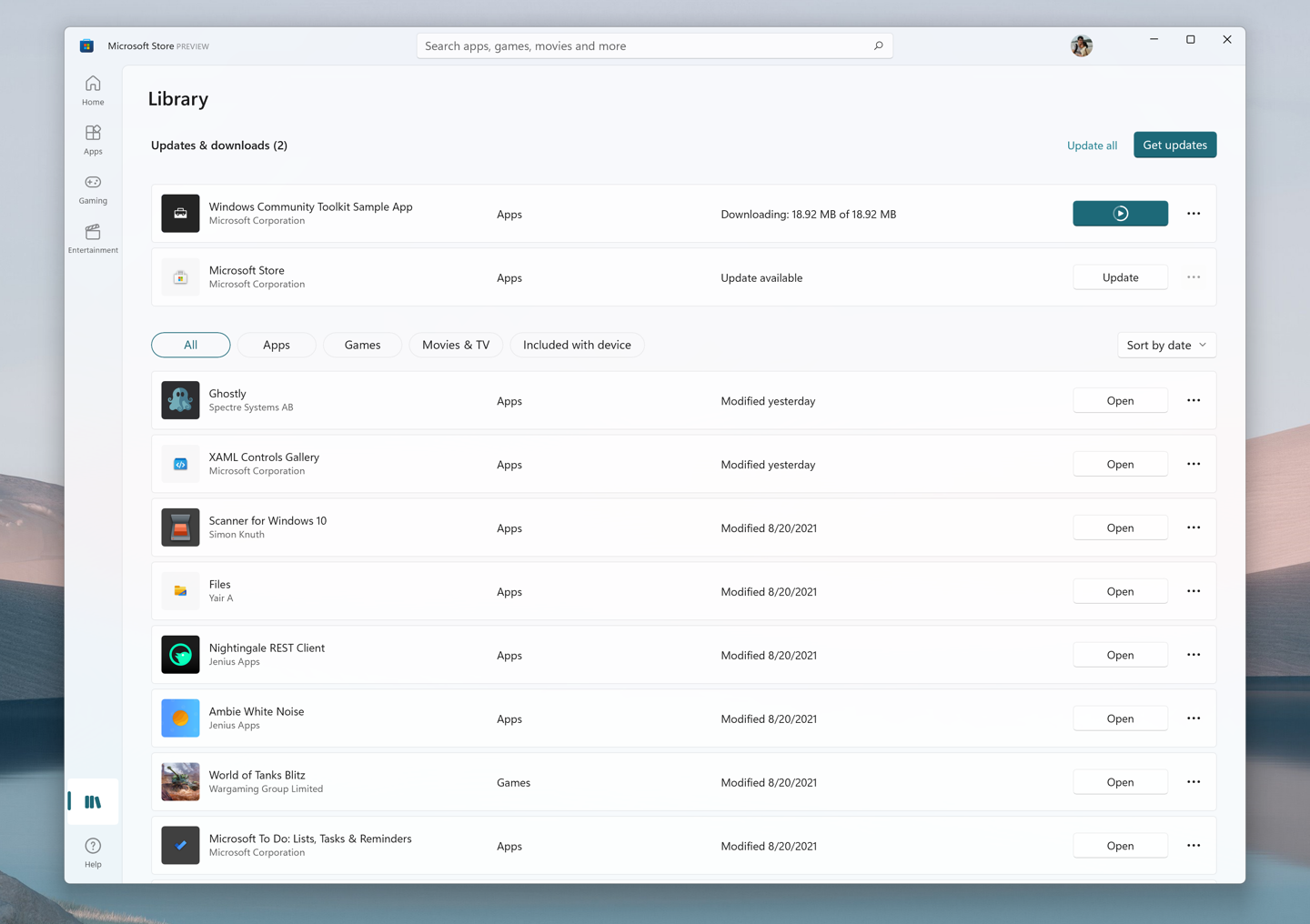 The new visual overhaul of the Library page in the Microsoft Store.
